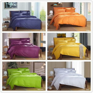 Solid-Queen-Double-King-Size-Duvet-Quilt-Doona-Cover-Set-Bed-Cover-Pillowcases