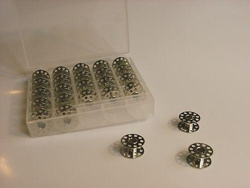 25 CB-Unterfadenspulen aus Metall incl Spulenbox