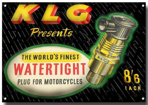 VINTAGE KLG SPARK PLUG METAL SIGN,ENAMELLED FINISH,ADVERTISING,CLASSIC BIKE.