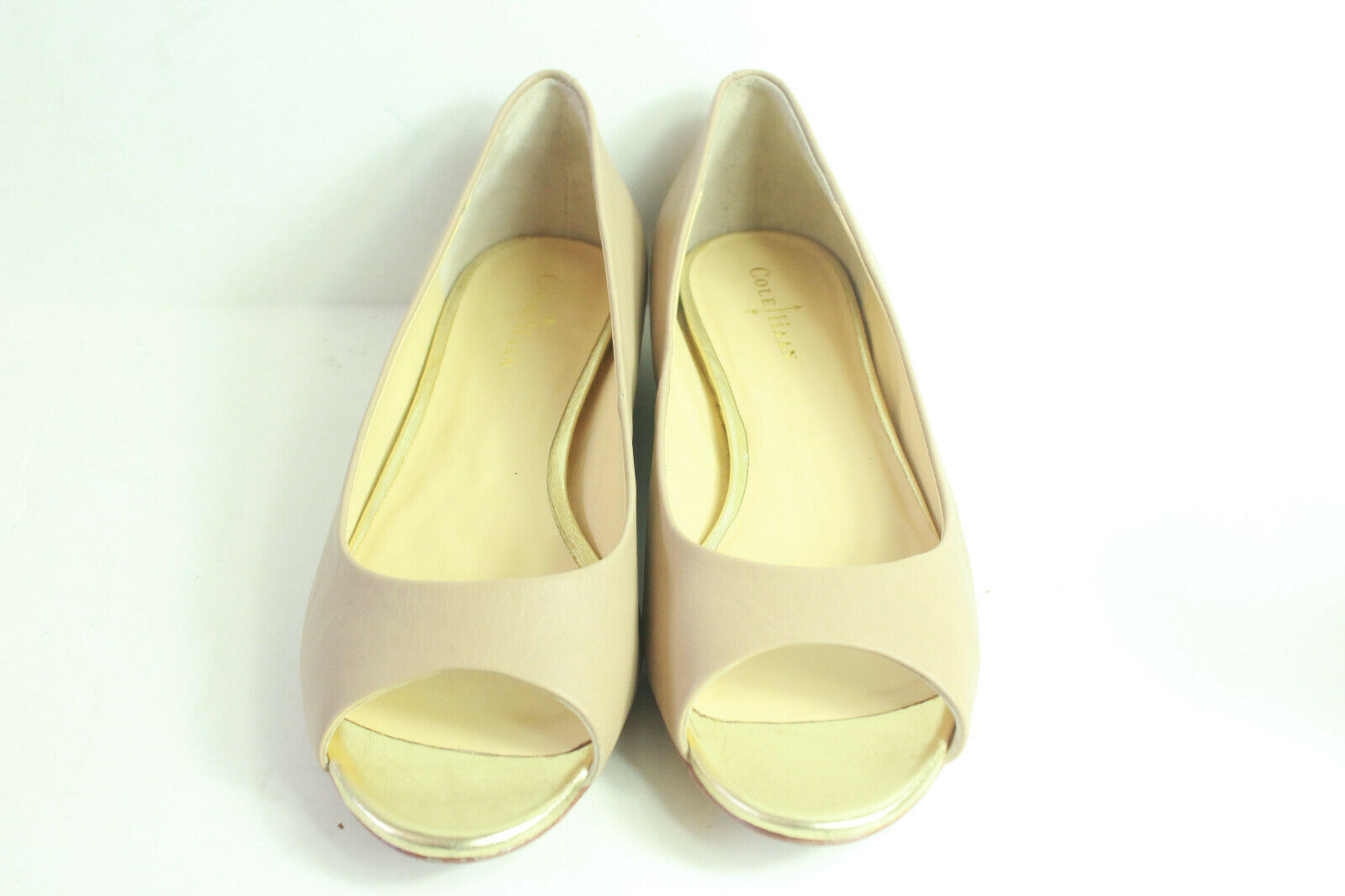 Cole Haan gold Leather Wedge Peep Toe Heels Women's Size Size Size 7 B 254eac