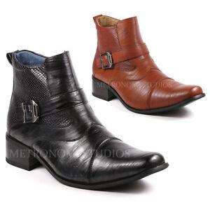 Metrocharm Met525 9 Men S Buckle Strap Western Cowboy Dress Boots Ebay