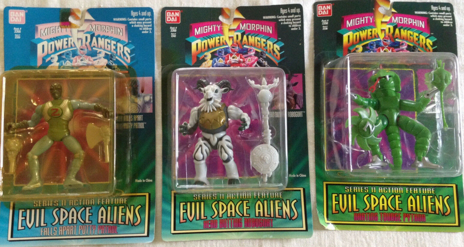 Mighty Morphin Power Ragers Evil Space Aliens, Collection of Three Asst.