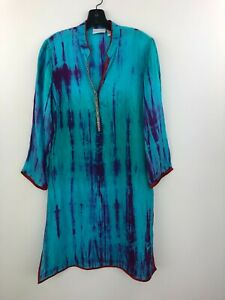 Soft Surroundings Tunic Top Blouse Silk Womens Small Tie Dye 3/4 Sleeve B4-11