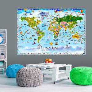 Details zu Weltkarte Poster für Kinder Vlies Fototapete Kinderzimmer Tiere  e-A-0102-c-a