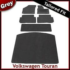 VW Touran Mk1 2003-2010 Oval Clips Tailored Fitted Carpet Car & Boot Mats GREY