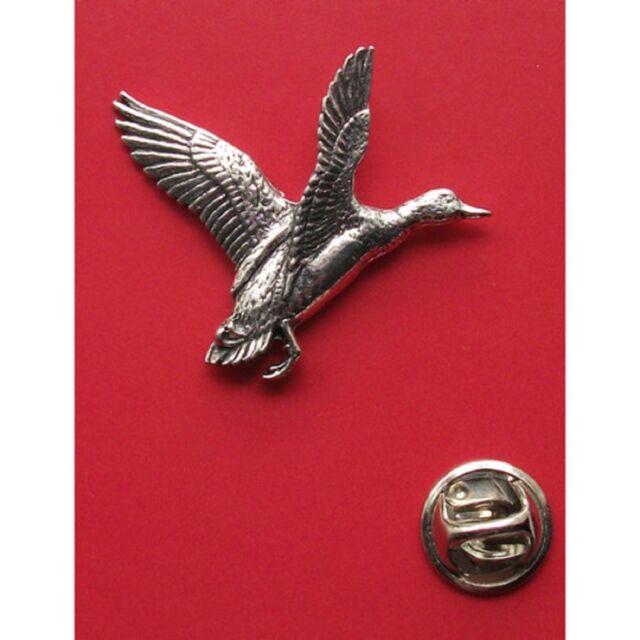 English Pewter MALLARD Duck Bird Pin Badge Tie Pin / Lapel Badge (XTSBPB12)