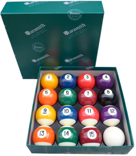 """Aramith Premier Engraved 2/"""" Pool Balls with 1 7//8 Inch Cue Ball Spots//Stripes"""