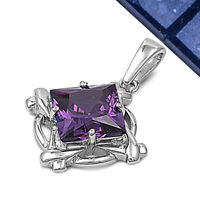 Estate Piece Faceted Amethyst .925 Sterling Silver Pendant on sale