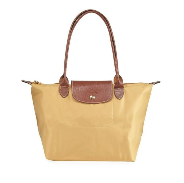 Longchamp Le Pliage Nylon Shoulder Tote 2605089 Honey Yellow Tan Authentic for sale online | eBay