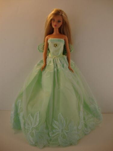 Light Green Ball Gown with Floral Lace and Fairy Wings Made to Fit Barbie Doll