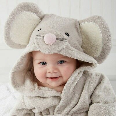 Sweet  Gray Mouse Baby Bath Hooded TERRY Towel Robe For Fun Bathtime B