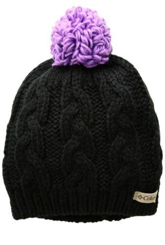 Black//Crown Jewel One Size COLUMBIA In-Bounds Beanie Hat w//Pom Pom Girls OS