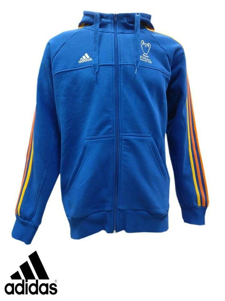 100% De Qualité Adidas Sweat à Capuche Sweat Pull Neuf S M Uefa Champions League 2016 Bleu Nouveau