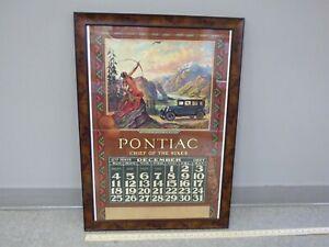 1927-PONTIAC-Framed-Wall-Calendar-GM-CANADA-Advertising-Original