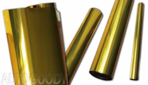 "24/"" x 60/"" Gold Chrome Mirror Vinyl Film Wrap Sticker Decal Stretchable 2ft x 5ft"