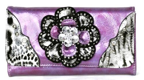 Leopard tri-folder Rhinestone Leaf Crystal Flower Wallet