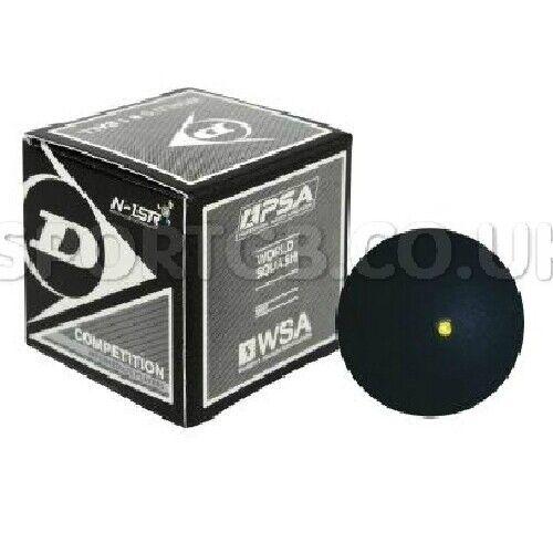 DUNLOP COMPETITION SQUASH BALL - 1 2 3 5 10 BALLS - SINGLE YELLOW DOT