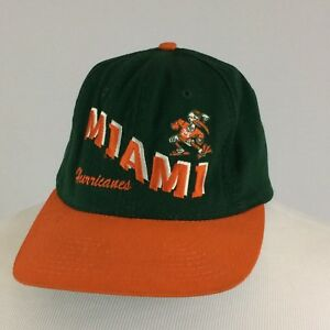 497d68337492 Details about Vintage Miami Hurricanes Snapback Hat Cap 80s NCAA Football  Made In USA College