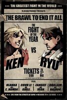 Street Fighter V Ken Vs Ryu Fight Card 24x36 Video Game Poster New/rolled