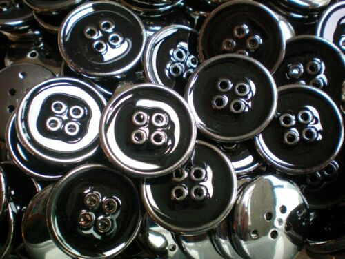 23mm 25mm Black /& Silver Effect Plastic 4 Hole Buttons Coat Craft CB92-CB93 x//