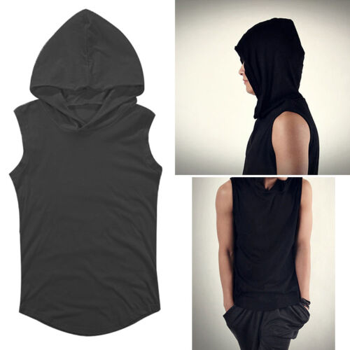 Men Gym Bodybuilding Singlet Sport Hoodie Tank Top Muscle Hooded T-Shirt Vest