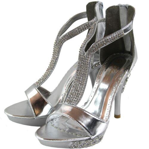 New women/'s shoes stilettos rhinestones back zipper open toe wedding prom silver
