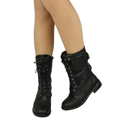 New Women's Mid Calf Casual Comfort Rounded Toe Combat Boots Black US Sz 5.5-10