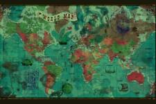 World Political Antique Style Map Mural inch Poster 36x54 inch