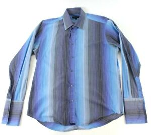 Ted-Baker-London-Men-039-s-Size-3-Cuff-link-Dress-Shirt-Blue-Purple-Striped