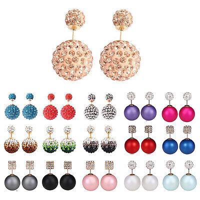 Hot Fashion Noble Elegant Crystal Double Sided Big Beads Pearl Earrings Ear Stud