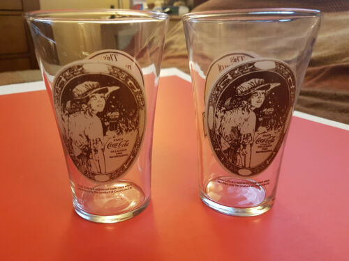 1980s Mothers Pizza Spaghetti House Flare Glass Vintage Set Of 2 Coca Cola