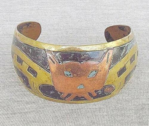 "Mexico art deco ""Jaguar"" copper and brass cuff bra"