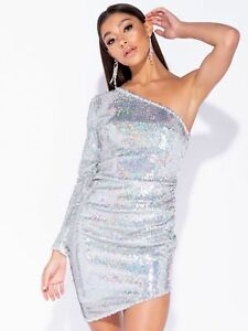 Womens-Silver-Sparkly-Sequin-Long-Sleeve-Short-Party-Dress-UK-Sizes-6-8-10-12-14
