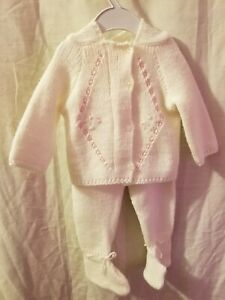 Vintage-Baby-80-039-s-Miri-2-Piece-Knitted-Outfit-Pants-Sweater-Ivory-6-Months