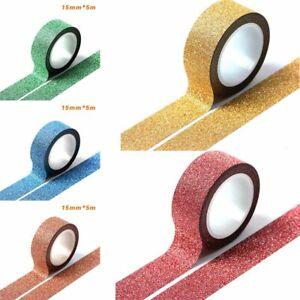 Details about 5M 15mm Glitter Ribbon Adhesive Tape Stick DIY Craft Handwork  Masking Gift