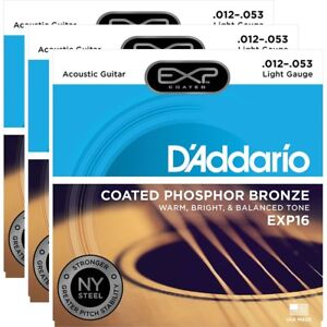 3-Sets-D-039-Addario-EXP16-Coated-Phosphor-Acoustic-Guitar-Strings-Light-12-53
