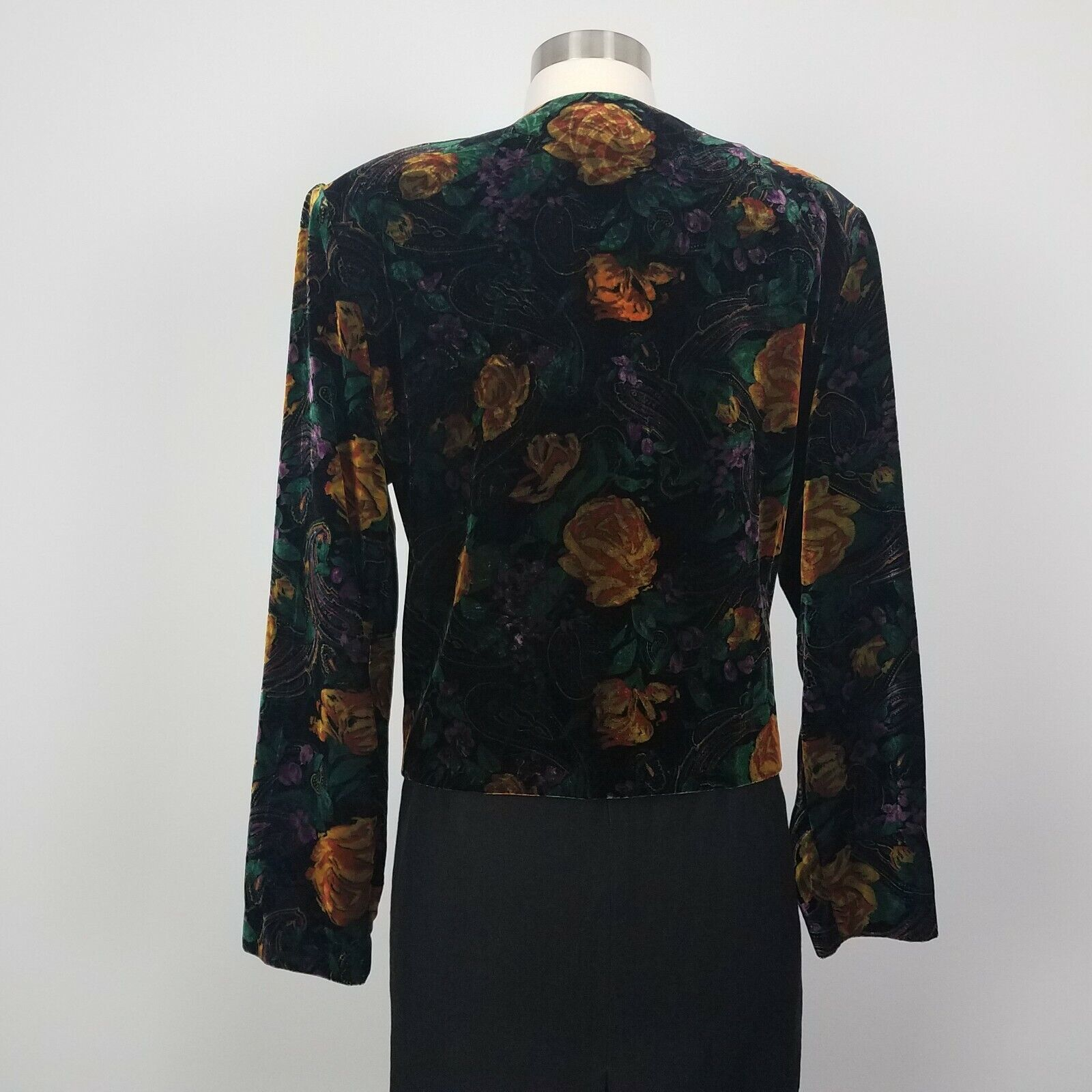 Vintage 80s Metallic Patchwork Print Cropped Velvet Blazer M Gold Brown Paisley
