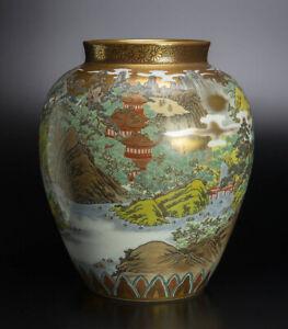 Japanese Antique Kutani Ware Rokaku Sansui-zu Vase Meiji Period