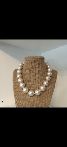 Large Faux Pearl 925/Crystal Screw Clasp Necklace