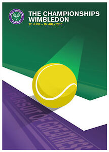 2016 Wimbledon Tennis Tournament Ad Poster, 8x10 Color Photo