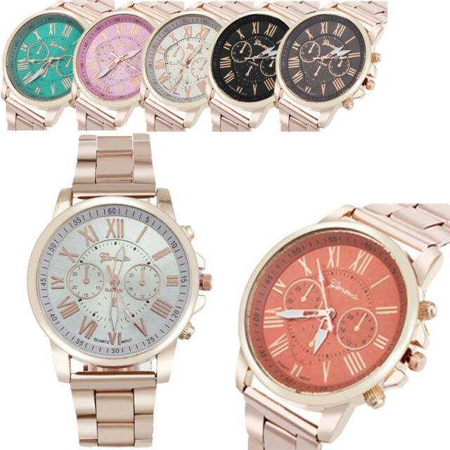 Fashion Watch Roman Number Stainless Steel Analog Quartz Dress Wristwatch