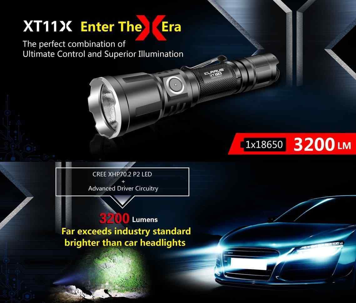 Klarus XT11X 3200 Lumen aufladbare Taktische LED Taschenlampe + Akku + Halterung  | Elegant Und Würdevoll