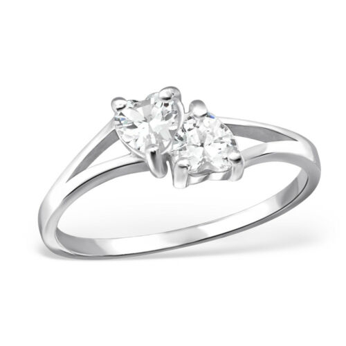 Double Crystal Heart Sterling Silver Engagement Eternity Stacking Ring