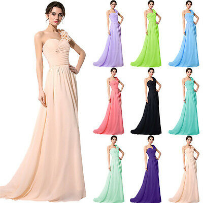 Plus Women Bridemsiad Formal Long Prom Dresses One Shoulder Evening Party Gown 4