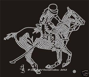 Hotfix Bügelbild Strass Pferd Reiten Polo Polospieler 120824-11sa Karostonebox