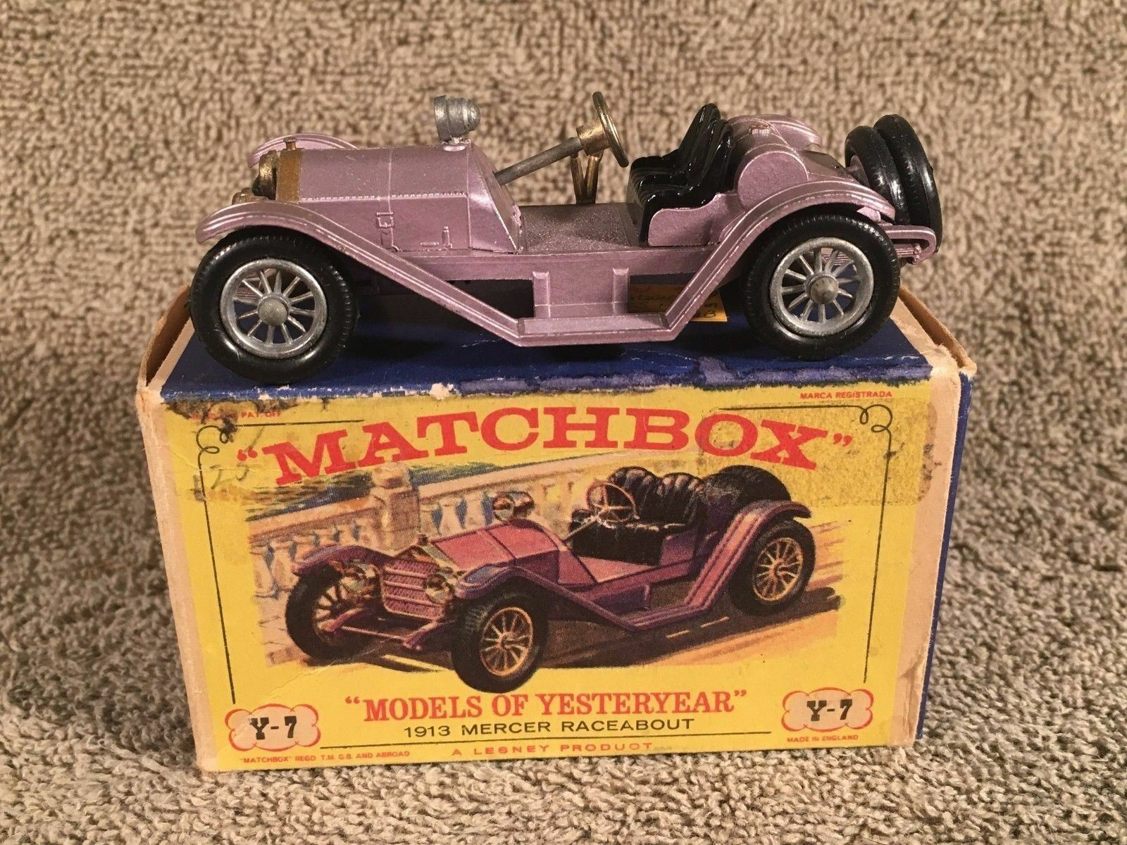 Modelos Matchbox de antaño 1913 Mercer Raceabout tipo 35J Y-7 Plateado Ruedas