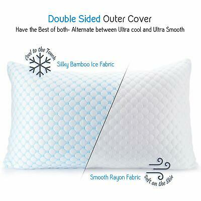 ❄Cooling Memory Foam Pillow Ventilated Bed Pillow Infused Cooling Gel Queen 2 pc
