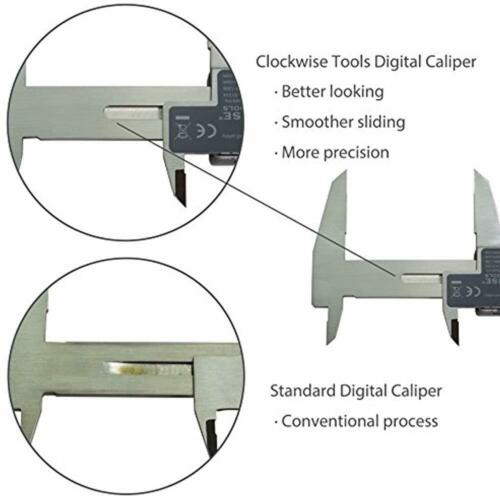 Clockwise Tools DCLR-1205 Electronic Digital Caliper Inch//Metric//Fractions IP54