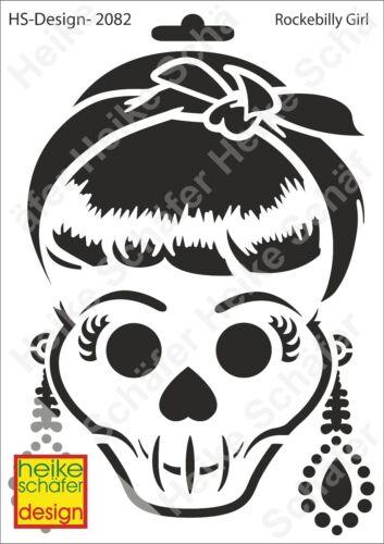 Neu Heike Schäfer Design Schablone-Stencil A5 134-2082 Rockebilly Girl