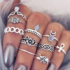 Chic 10PCs/Set Women's Crystal Gem Elephant Vintage Midi Finger Rings Set Trendy